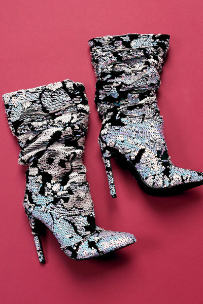 Pink Sequin Boots Black Velvet Boots For Women By Sequin Velvet | Shop Women's Fashion Lovely Stylish Fashionable Boots Louchy Shaft With Eye-Pooping Sequin Embellished Velvet Slouchy Pointy Toe Silhouette Slim Stiletto Boots