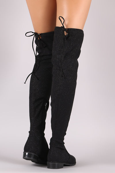 Riding Boots For Women By Liliana | Women's Stretchy Glitter Drawstring Back Tie Fitted Low Chunky Heel Over The Knee High Boots
