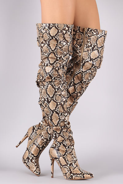 Liliana Python Slouchy Pointy Toe Over-The-Knee Stiletto Boots