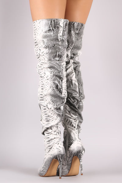 Snakeskin Slouchy boots For Women By Liliana | Shop Women's Fashion Snakeskin Slouchy Pointy Toe And Slim Stiletto Over-The-Knee Stiletto Boots