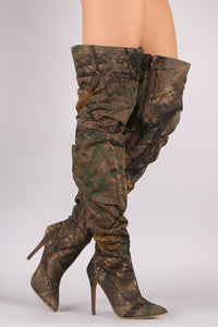 Camouflage Over-The-Knee Stiletto Boots For Women By Liliana | Women Fashion Camouflage Slouchy Pointy Toe Slouchy Shaft And Slim Stiletto HeelOver-The-Knee Stiletto Boots For Women