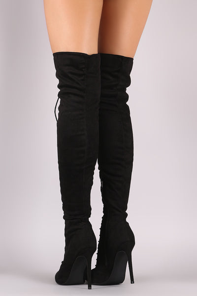 Over The Knee Boots For Women By Liliana | Women's Fashion Soft Vegan Suede Pointy Toe Adjustable Corset Lace-Up Over The Knee Stiletto Boots