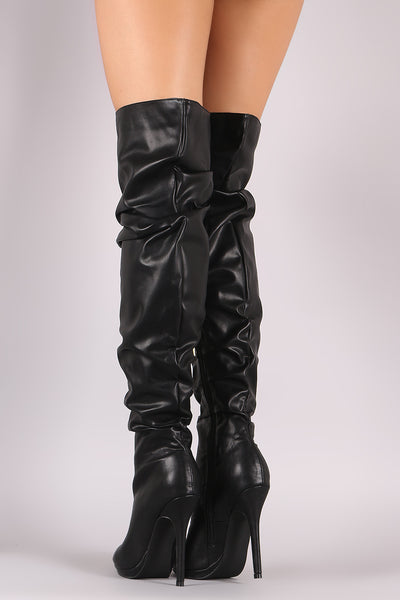Slouchy Leather  Over-The-Knee boots For Women By Liliana | Shop Women's Fashion Slouchy Leather Peep Toe Silhouette Slouchy Vegan Leather Over-The-Knee Boots