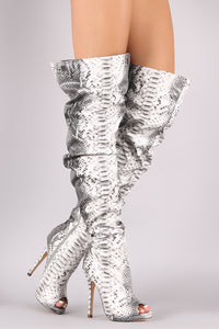 Liliana Slouchy Python Peep Toe Stiletto Over-The-Knee Boots