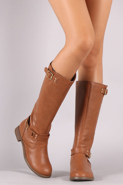 Textured Leather Buckled Flat Heel Riding Boots