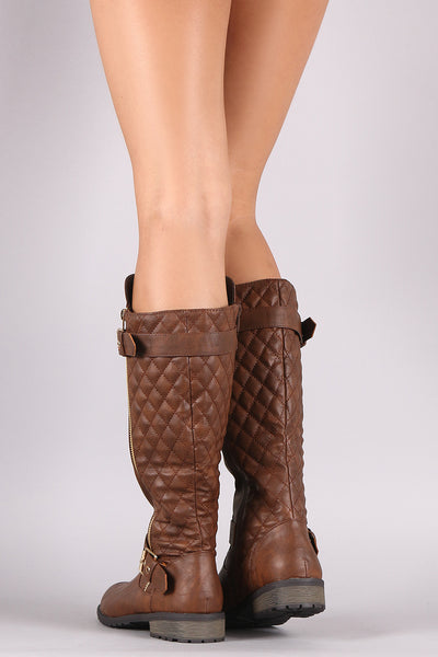Quilted Zipper Buckle Knee High Riding BootsKnee High Riding Boots For Women By Qupid | Shop Women's Fashion Stylish Boots Knee High Riding Boots With smooth vegan leather Quilted Zipper Adjustable Buckle zipper Decor Knee High Riding Boots