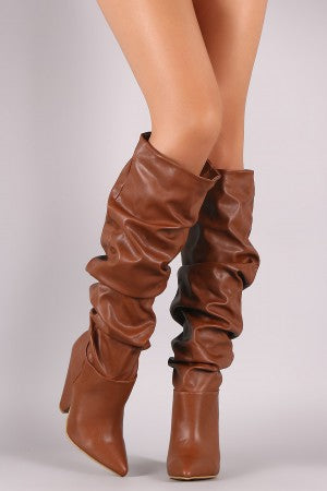 Slouchy Vegan Leather Cone Heel Knee High Boots