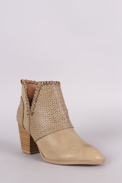Qupid Perforation And Whipstitch Chunky Heeled Booties