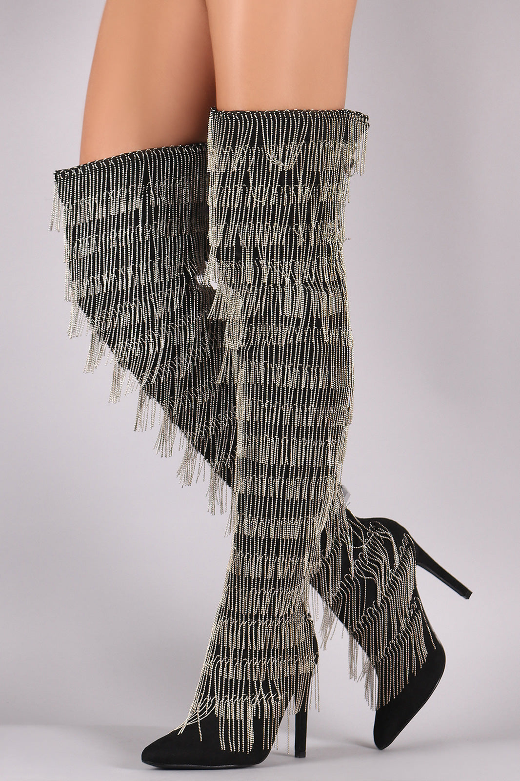 Chain Fringe Over-The-Knee Boots For Women By LUD | Shop Women's Fashion Lovely Stylish Fashionable Vegan Suede Pointy Toe Silhouette Chain Fringe Over-The-Knee Slim Stiletto Boots