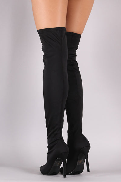Pointy Toe Stiletto Boots For Women By Elastane | Women Pointy Toe Thigh High Single Sole Stiletto Boot Stretchy Elastane Shaft & Slim Stiletto over the knee Boots