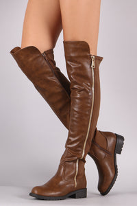 Zipper Trim Elastane Back Panel Riding Boots