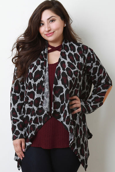 Leopard Contrast Elbow Patch Open Front Cardigan