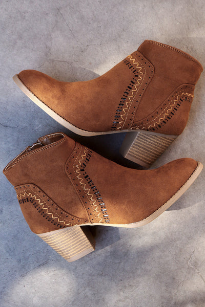 Qupid Perforated Suede Stitch Chunky Heeled Booties