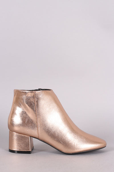 Metallic Block Heel Booties For Women By Qupid | Women Metallic Chunky Heel Bootie Low Block Heel Ankle Boots Dressy Casual Versatile Everyday Trendy Ankle Boots