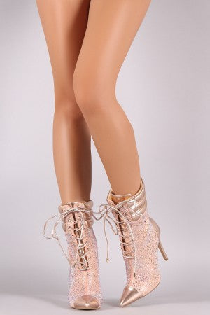 Quilted Rhinestone Embellished Lace Up Stiletto Heeled Booties