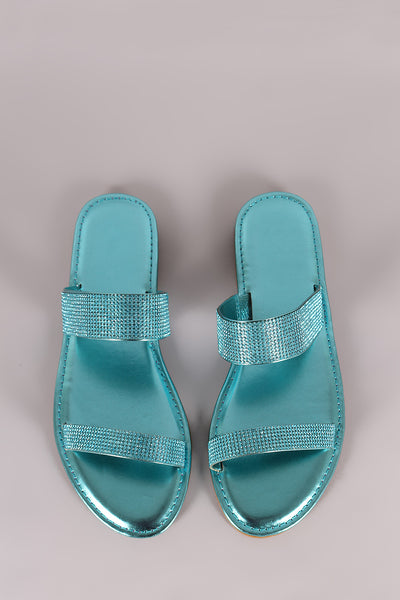 Double Band Slide Sandal For Women By Bamboo | Women Fashion Comfortable Rhinestone Embellished Double Band Slide Sandal Open Toe Flat Sandal For Women