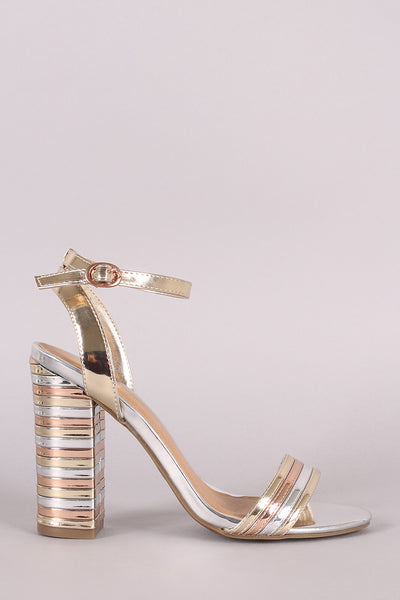 Bamboo Patent Mixed Media Striped Band Chunky Heel