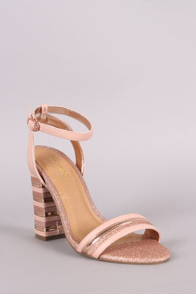 Bamboo Mixed Media Glitter Striped Band Chunky Heel