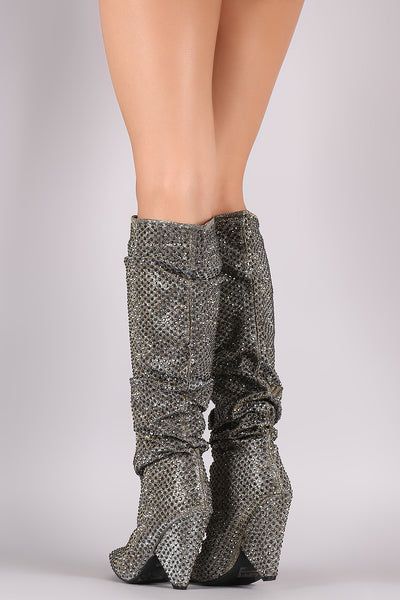 Knee High Heel Boots For Women By Fabric | Bamboo Glitter Rhinestone Slouchy Cone Heel Knee High Boots