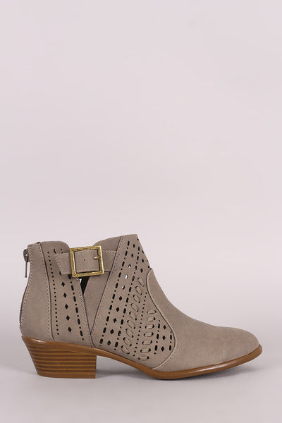 Qupid Perforation And Whipstitch Split Shaft Booties