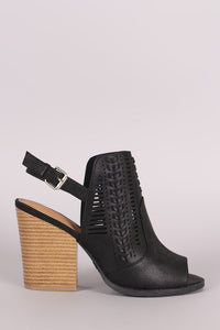 Qupid Perforation And Whipstitch Slingback Chunky Mule Heel