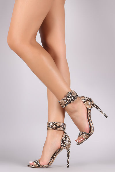 Liliana Python Ankle Cuff Open Toe Stiletto Heel