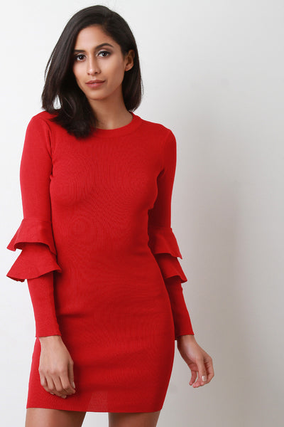 Double Trumpet Sleeve Knitted Bodycon Dress
