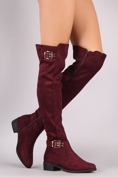 Vegan Suede Double Buckle Over-The-Knee Riding Boots