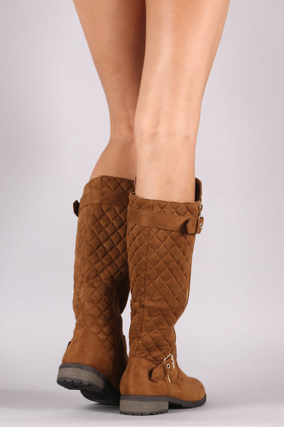 Knee-High Riding Boots For Women By LUD | Shop Women's Fashion Quilted Suede Buckle And Zipper Trim Knee Low Block Heel High Riding Boots