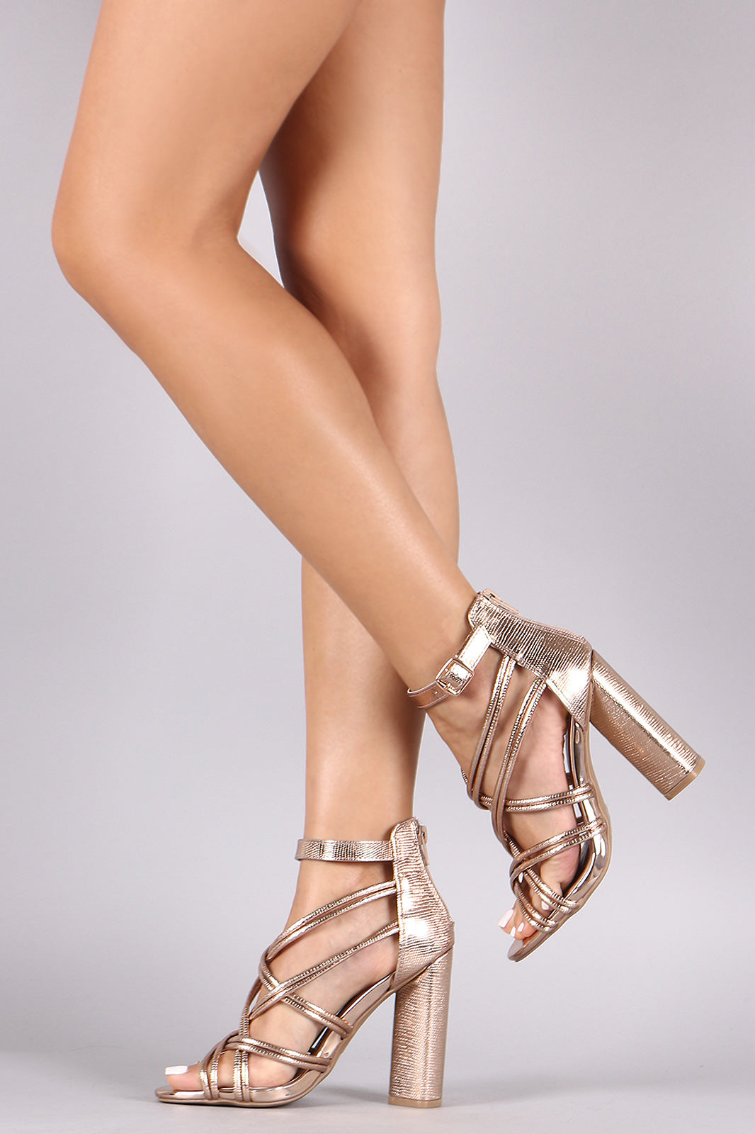 Qupid Metallic Lizard Tubular Strappy Chunky Heel