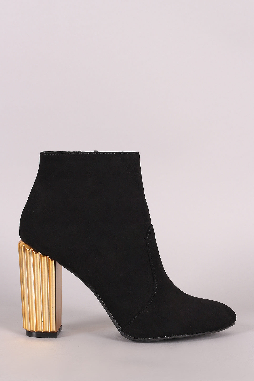 Qupid Suede Pointy Toe Textured Metallic Chunky Heeled Booties