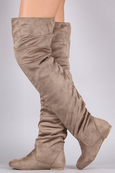 lovely flat boots For Womem  By LUD | Slouchy Vegan Suede Over-The-Knee Flat Boots A lovely flat boots feature a round toe silhouette