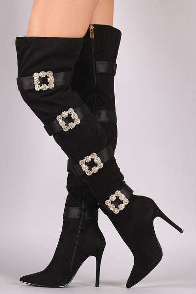 Faux-Crystal Buckle Boots For Women By LUD | Shop Women's Fashion Faux-Crystal Buckle Embellished Suede Pointy Toe Over-The-Knee Stiletto Boots