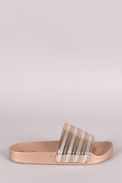 Qupid Metallic Tri-Color Open Toe Band Slide Sandal