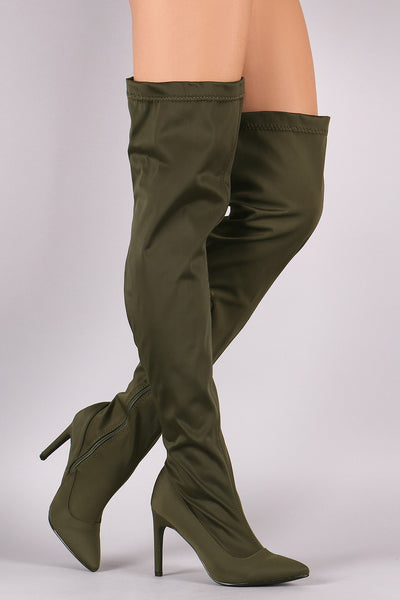 Over-The-Knee Nylon Boots For Women By LUD | Shop Women's Fashion Pointy Toe Stiletto Over-The-Knee Nylon Shaft Boots Partial Side Zip Closure Slim Stiletto Heel Boots