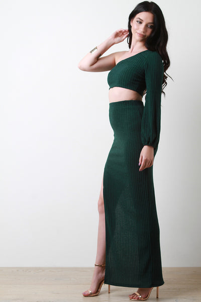 One Shoulder Long Sleeve Shirt Slit Maxi Skirt Set By Maxi Skirt | One Shoulder Bishop-Sleeve Crop Top With Slit Maxi Skirt Two Piece Set