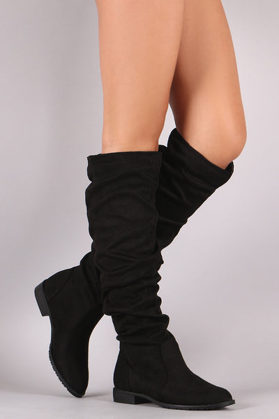 Riding Knee High Boots For Women By LUD | Women Suede Slouchy Riding Knee High Boots A Soft Vegan Suede Round Toe Silhouette And Slouchy Shaft Design A Comfy Casual Flat Boots For Women