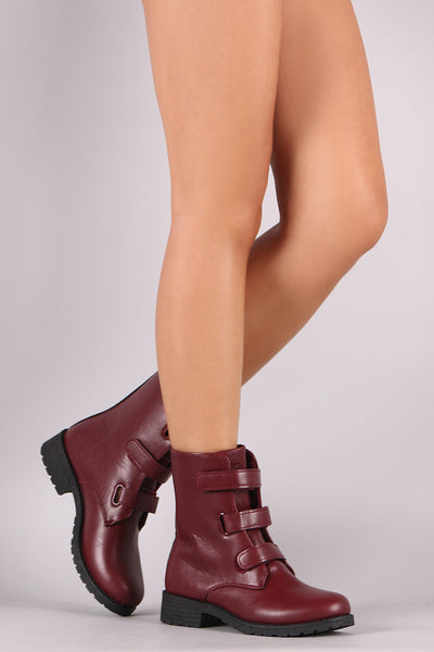 Triple Band Moto Boots For Women By LUD | Women Triple Hook-&-Loop Strap Closure Round Toe Silhouette And Low Block Heel For Women