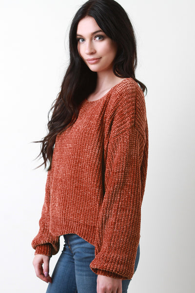 Scallop Hem Chenille Knit Sweater