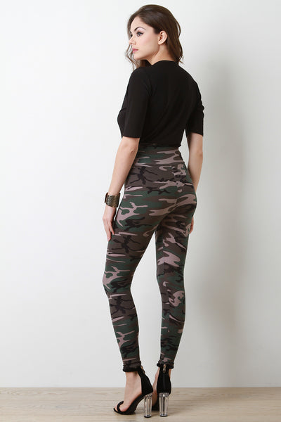 Camouflage Print Jersey Knit High Waist Leggings
