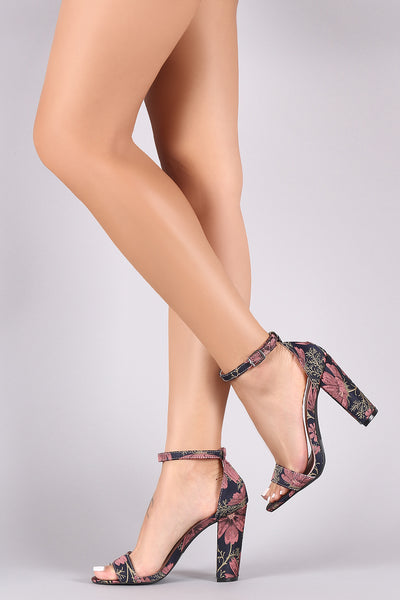 Strap Chunky Heels For Women By Qupid | Women Fashion Printed Fabric Open Toe Ankle Strap Chunky wrapped Heel For Women