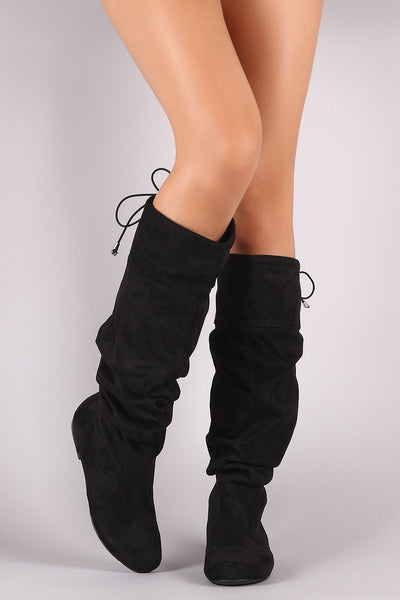 Flat Boots For Women By Qupid | Fashion Women Suede Slouchy Drawstring-Tie Flat Boots A Slouchy Shaft Design Rounded Toe And A Drawstring Collar That Ties At The Back For Custom Fit