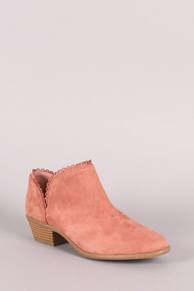Qupid Scalloped Split Shaft Suede Booties