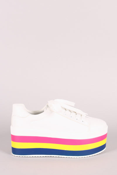 Qupid Stacked Stripes Flatform Lace-Up Sneaker