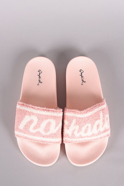 Qupid No Shade Graphic Open Toe Slide Sandal