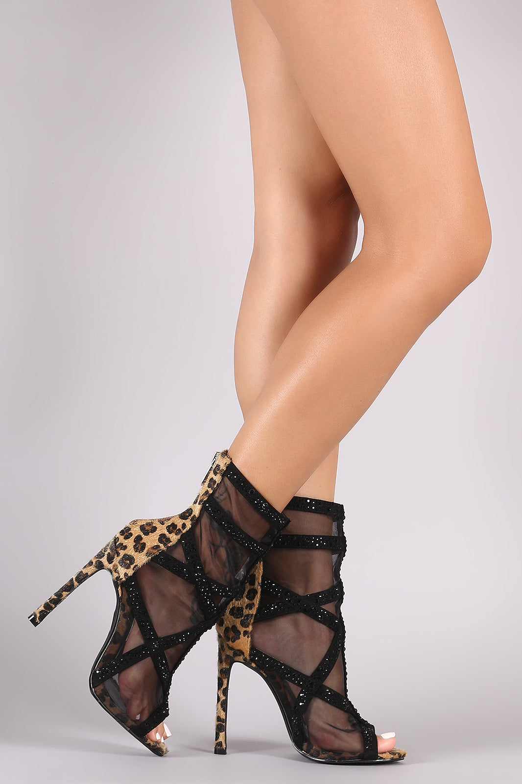 Mesh Booties For Women By Mesh/Vegan Suede | Women Leopard Mesh Rhinestone Embellished Stiletto Booties A Glamorous Booties Sheer Mesh Upper Vegan Suede Trimming Leopard Detail Heel