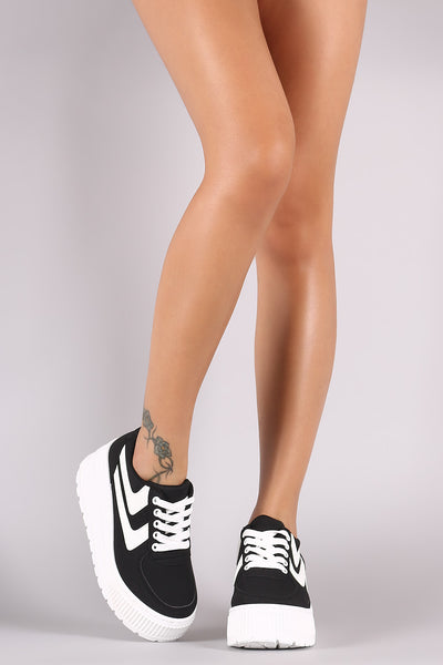 Qupid Nubuck Stripe Lace-Up Lug Platform Wedge Sneaker
