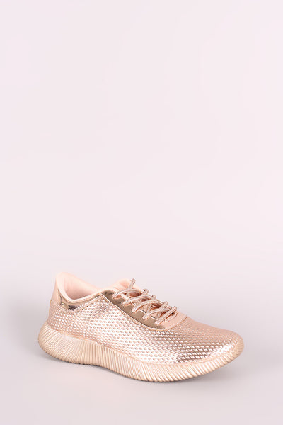 Textured Metallic Sneakers For Women By Qupid | Shop Women's Fashion Lovely Stylish Fashionable Textured Metallic patent upper round toe Lace Up Sneakers