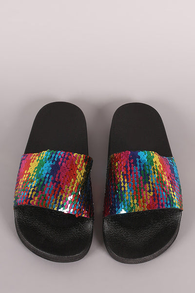 Open-toe Women Sandals By LUD | Bamboo Colorful Sequins Open Toe Slide Sandal A Open-Toe Slip-on Sandal Slides For Women A Comfy Molded Footbed Slide Sandal