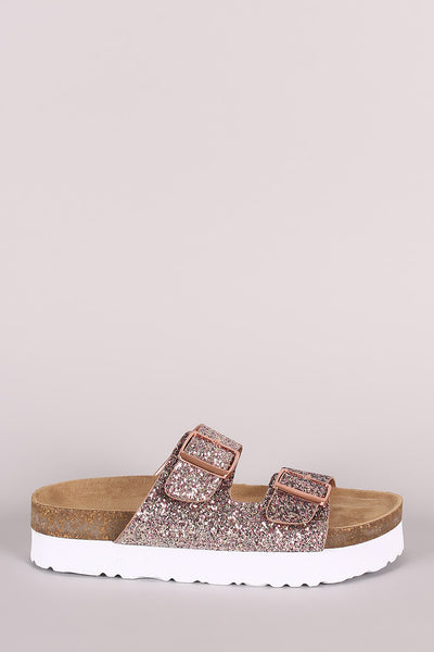 Buckled Footbed Slide Sandal For Women By Bamboo | Women Fashion Glitter Encrusted Buckled Footbed Slide Sandal Slide Synthetic Rubber Sole Sandals Shoes Two Adjustable Straps Sandal For Women